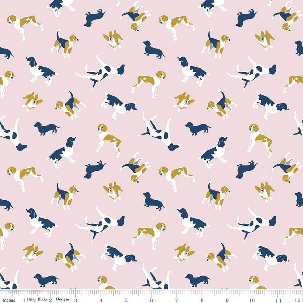 "SALE Fox Farm Dogs Pink SPARKLE - Riley Blake Designs - Gold Metallic SPARKLE - Quilting Cotton Fabric - 1 yard 33"" end of bolt piece"
