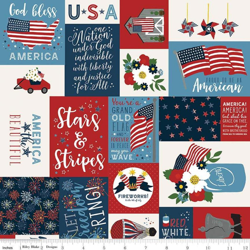 Celebrate America Main Multi - Riley Blake Designs - Patriotic Patchwork Text Icons Flags - Quilting Cotton Fabric - choose your cut