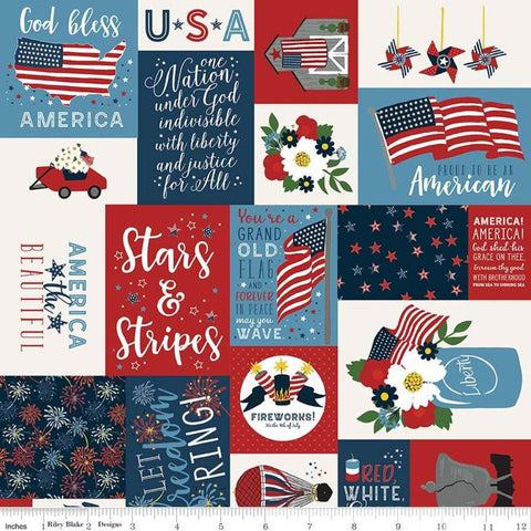 Celebrate America Main Multi - Riley Blake Designs - Patriotic Patchwork Text Icons Flags - Quilting Cotton Fabric