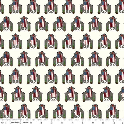 SALE Celebrate America Barns Cream - Riley Blake Designs - Patriotic Wooden Barns American Flags - Quilting Cotton Fabric