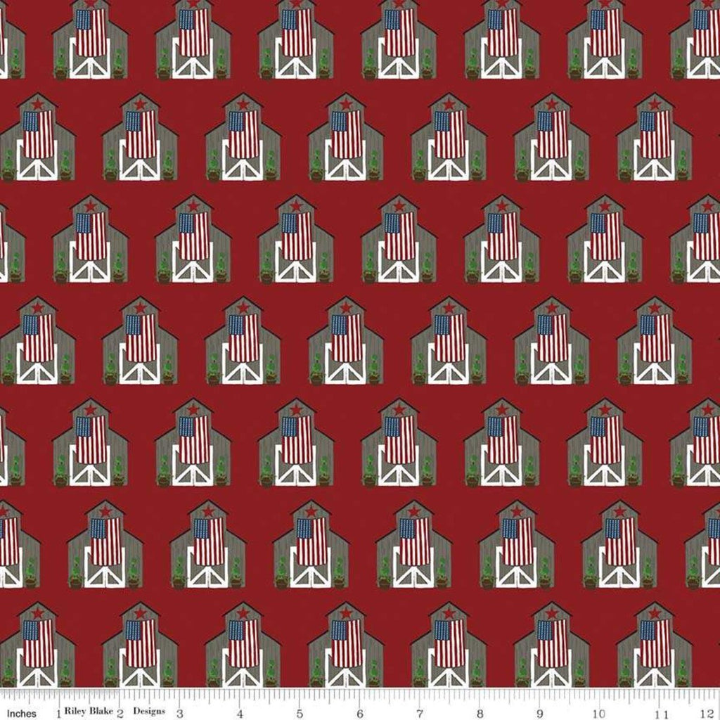 Celebrate America Barns Red - Riley Blake Designs - Patriotic Wooden Barns American Flags - Quilting Cotton Fabric