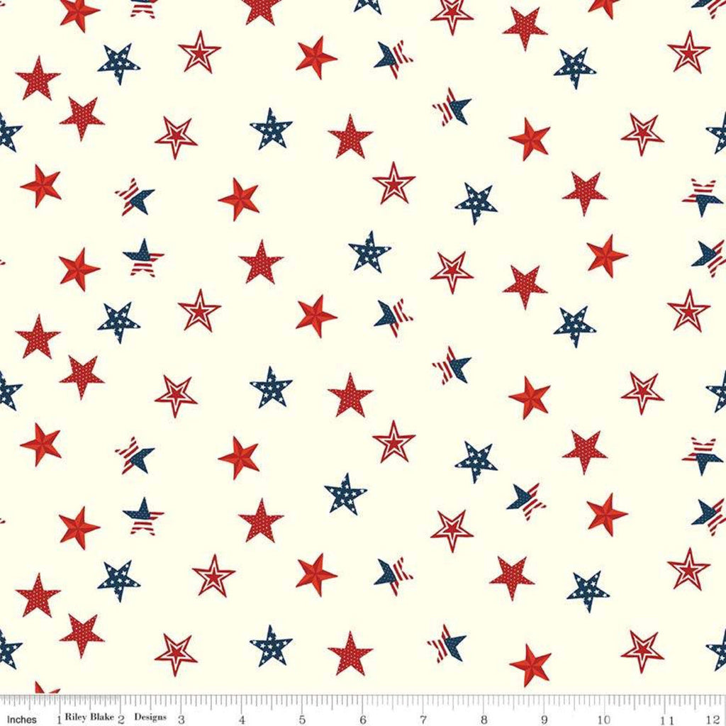 Celebrate America Stars Cream - Riley Blake Designs - Patriotic Red White Blue Stars - Quilting Cotton Fabric - choose your cut