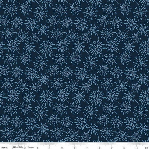 "Celebrate America Fireworks Navy - Riley Blake Designs - Blue Patriotic Independence Day - Quilting Cotton Fabric - 1 yard 18"" end of bolt"