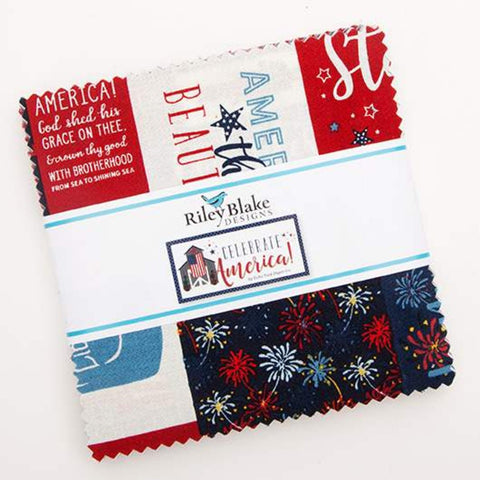 "Celebrate America Charm Pack 5"" Stacker Bundle - Riley Blake Designs - 42 piece Precut Pre cut - Patriotic - Quilting Cotton Fabric"