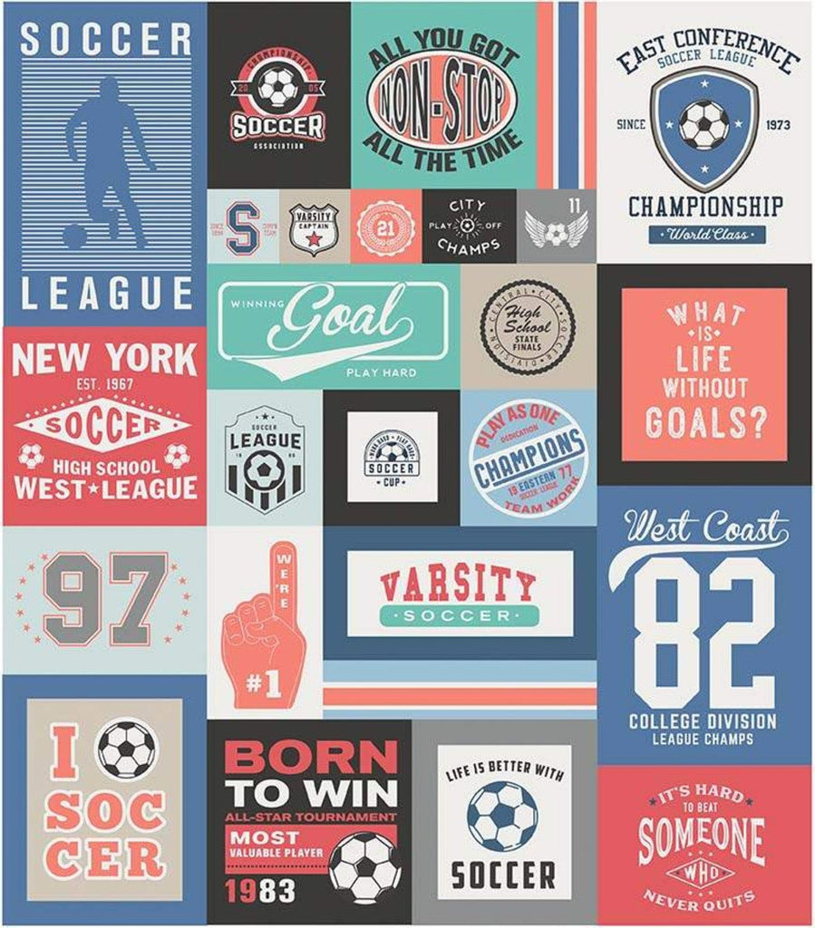 SALE Varsity Soccer Panel Coral by Riley Blake Designs - Sports Patches Panel - Quilting Cotton Fabric