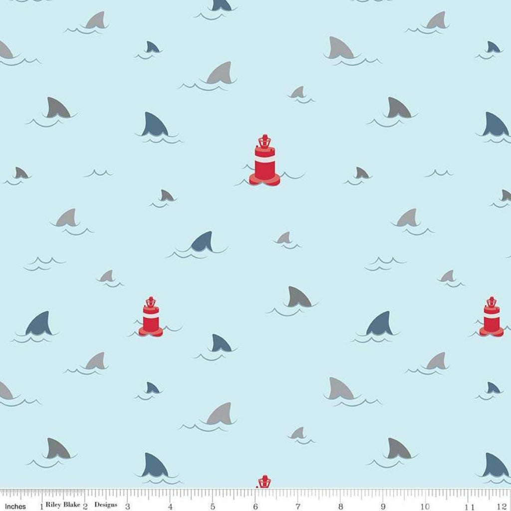 Fins Novelty Light Blue - Riley Blake Designs - Ocean Sea Water Sharks Buoys - Quilting Cotton Fabric