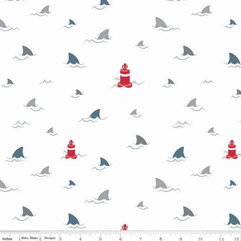 Fins Novelty White - Riley Blake Designs - Ocean Sea Water Sharks Buoys - Quilting Cotton Fabric