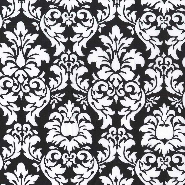 Dandy Damask Black by Michael Miller - Black and White - Quilting Cotton Fabric - choose your cut