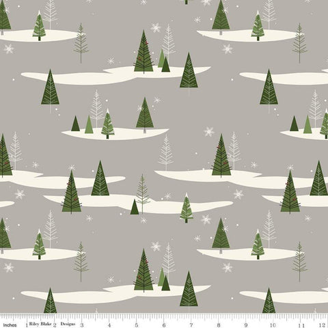 SALE Winterberry Trees Gray - Riley Blake Designs - Green Cream Pine Trees Christmas - Quilting Cotton Fabric