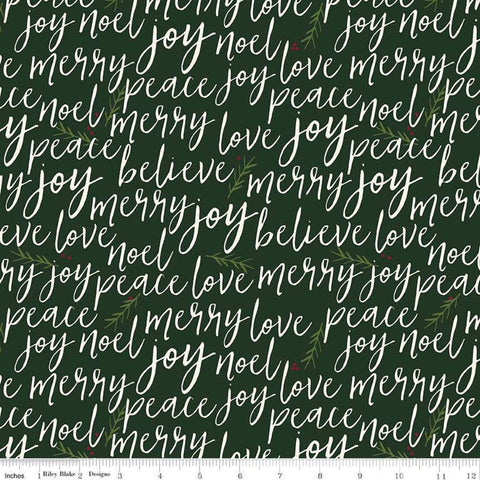 Winterberry Text Dark Green - Riley Blake Designs - Christmas Cream Words Pine Needles  - Quilting Cotton Fabric