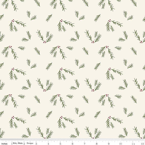Winterberry Sprigs Cream - Riley Blake Designs - Christmas Red Green Pine Sprigs - Quilting Cotton Fabric