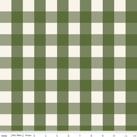 Winterberry Check Green - Riley Blake Designs - Christmas Green and Cream Checkered Checks - Quilting Cotton Fabric