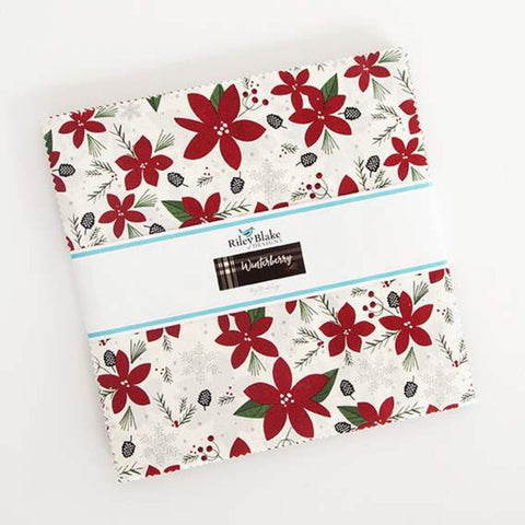 "Winterberry Layer Cake 10"" Stacker Bundle - Riley Blake Designs - 42 piece Precut Pre cut - Christmas - Quilting Cotton Fabric"