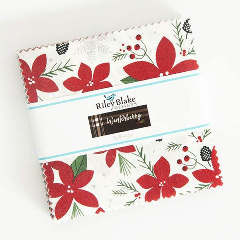 "Winterberry Charm Pack 5"" Stacker Bundle - Riley Blake Designs - 42 piece Precut Pre cut - Christmas - Quilting Cotton Fabric"