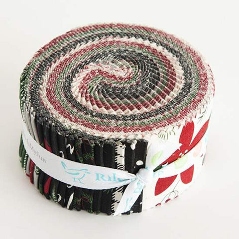 Winterberry 2.5-Inch Rolie Polie Jelly Roll 40 pieces Riley Blake Designs - Precut Bundle - Christmas - Quilting Cotton Fabric