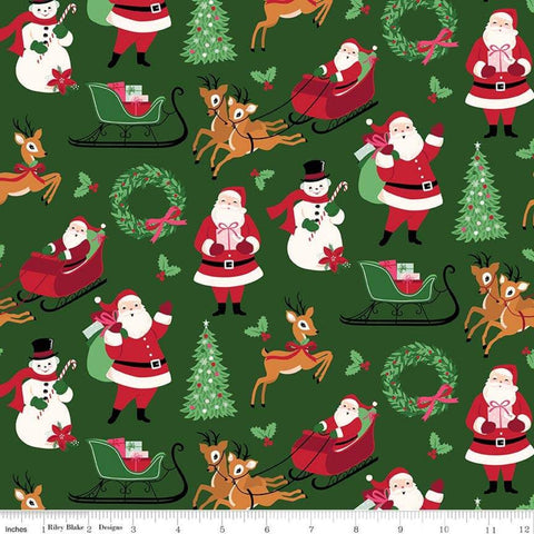 SALE Merry and Bright Main Green - Riley Blake Designs - Christmas Santa Snowmen Reindeer Trees  - Quilting Cotton Fabric - choose your cut