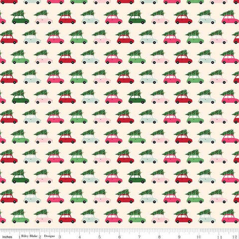 Merry and Bright Cars Cream - Riley Blake Designs - Christmas Automobiles with Pine Trees  - Quilting Cotton Fabric - choose your cut