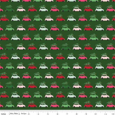 SALE Merry and Bright Cars Green - Riley Blake Designs - Christmas Automobiles with Pine Trees  - Quilting Cotton Fabric - choose your cut