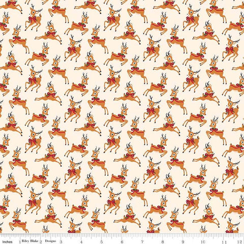 Merry and Bright Deer Cream - Riley Blake Designs - Christmas Reindeer  - Quilting Cotton Fabric - choose your cut