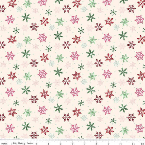 "Merry and Bright Snowflakes Cream - Riley Blake Designs - Christmas Scattered Flakes Snow  - Quilting Cotton Fabric - 1 yard 30"" end of bolt"