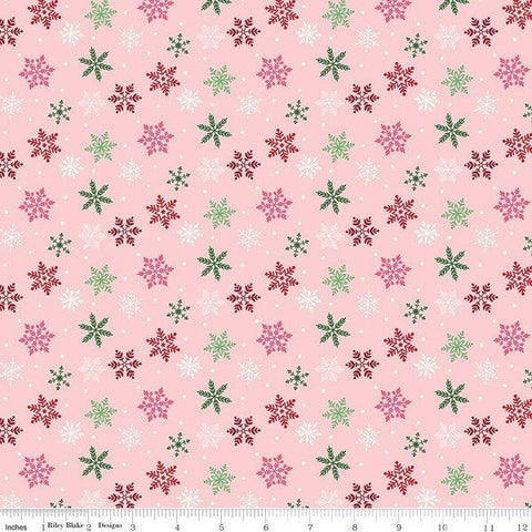 Merry and Bright Pink - Riley Blake Designs - Christmas Scattered Flakes Snow  - Quilting Cotton Fabric - choose your cut