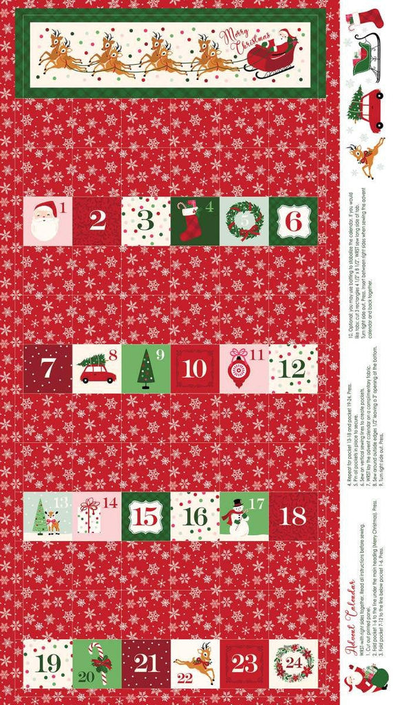 "Merry and Bright Advent Panel Red by Riley Blake Designs - 24"" x 43"" Christmas Holiday Advent Calendar- Quilting Cotton Fabric"