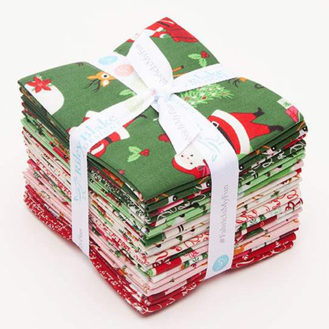 Merry and Bright Fat Quarter Bundle 21 pieces-Riley Blake Designs - Pre cut Precut - Christmas Quilting Cotton Fabric-Free US Shipping