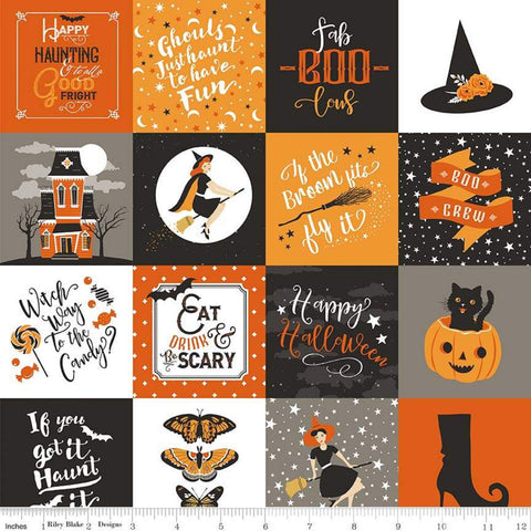 SALE Fab-boo-lous Main Orange - Riley Blake Designs - Halloween Patches Icons Sayings Witches - Quilting Cotton Fabric