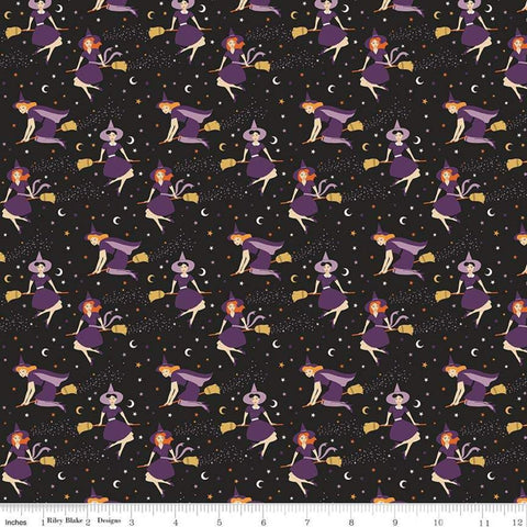Fab-boo-lous Witches Black - Riley Blake Designs - Halloween Witches on Broomsticks - Quilting Cotton Fabric