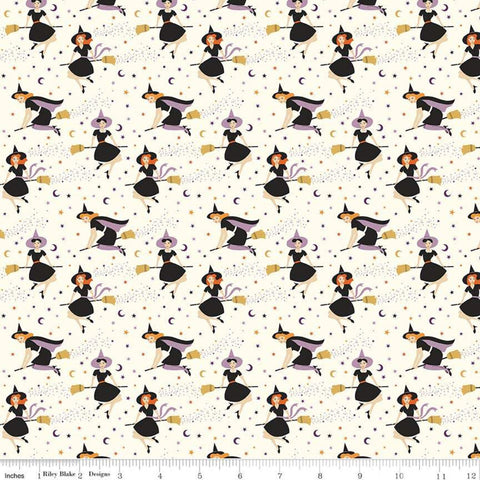 "Fab-boo-lous Witches Cream - Riley Blake Designs - Halloween Witches on Broomsticks - Quilting Cotton Fabric - 21"" end of bolt piece"