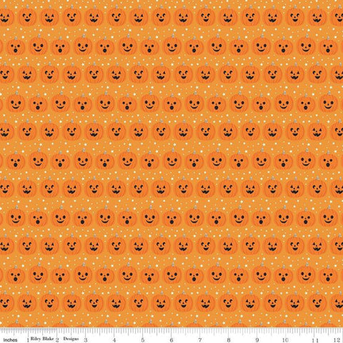 Fab-boo-lous Pumpkins Orange - Riley Blake Designs - Halloween Jack-o-Lanterns - Quilting Cotton Fabric
