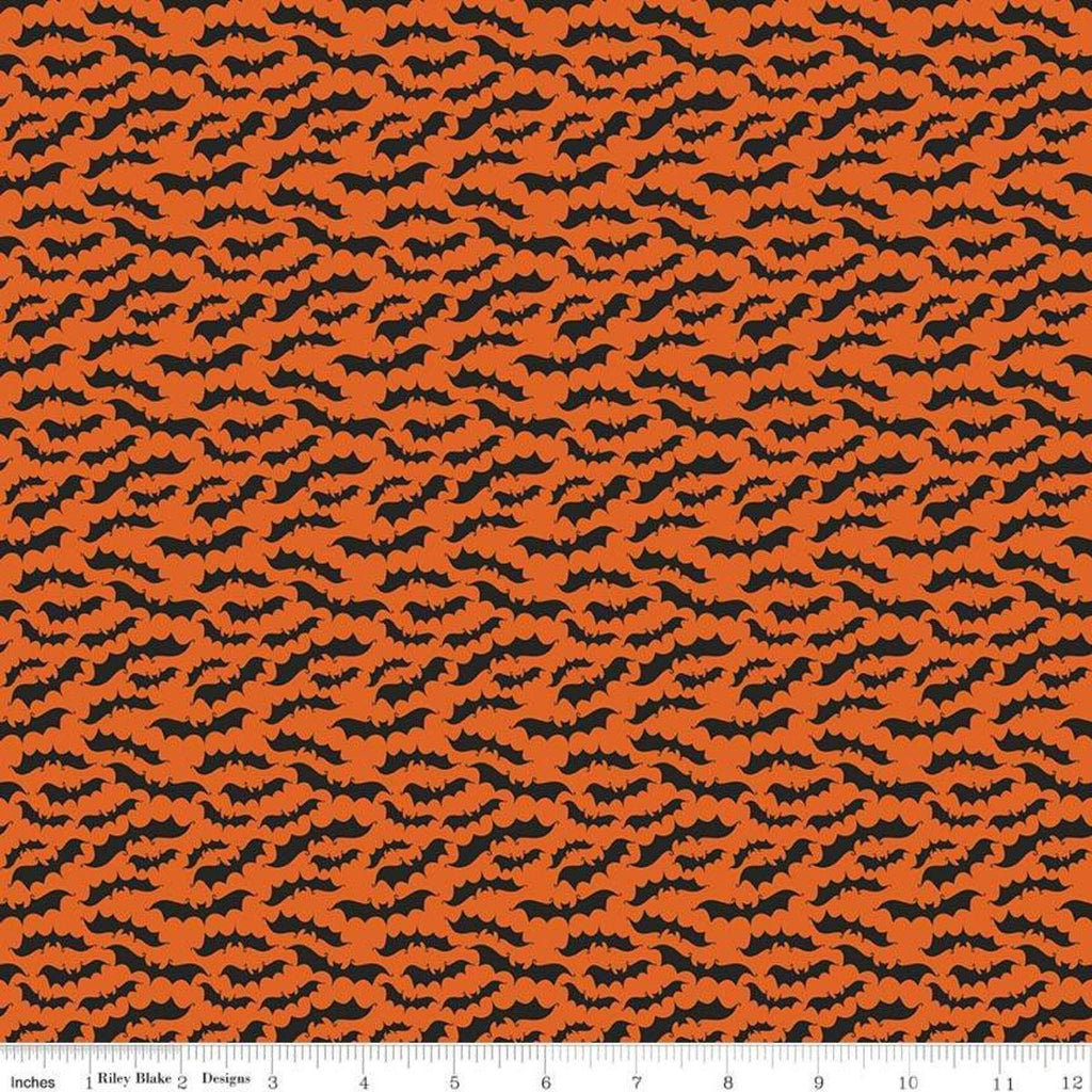 SALE Fab-boo-lous Bats Orange - Riley Blake Designs - Halloween Black Bats on Orange - Quilting Cotton Fabric