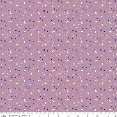 Fab-boo-lous Star Scatter Lavendar - Riley Blake Designs - Purple Halloween Moons Stars - Quilting Cotton Fabric