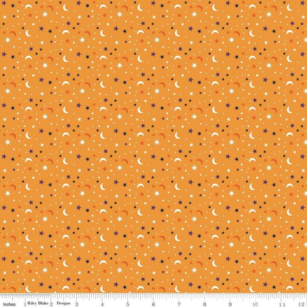 Fab-boo-lous Star Scatter Orange - Riley Blake Designs - Halloween Moons Stars - Quilting Cotton Fabric