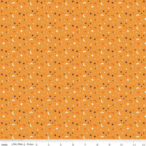 SALE Fab-boo-lous Star Scatter Orange - Riley Blake Designs - Halloween Moons Stars - Quilting Cotton Fabric
