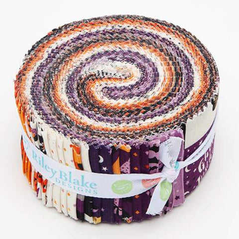 Fab-boo-lous 2.5-Inch Rolie Polie Jelly Roll 40 pieces Riley Blake Designs - Precut Bundle - Halloween - Quilting Cotton Fabric