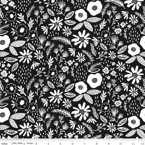 Juniper Main Black - Riley Blake Designs - Black and White Floral Flowers Leaves - Quilting Cotton Fabric
