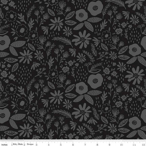 Juniper Main Gray SPARKLE - Riley Blake Designs - Gunmetal Metallic Floral Flowers - Quilting Cotton Fabric