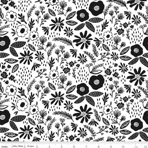 Juniper Main White - Riley Blake Designs - Black and White Floral Flowers Leaves - Quilting Cotton Fabric