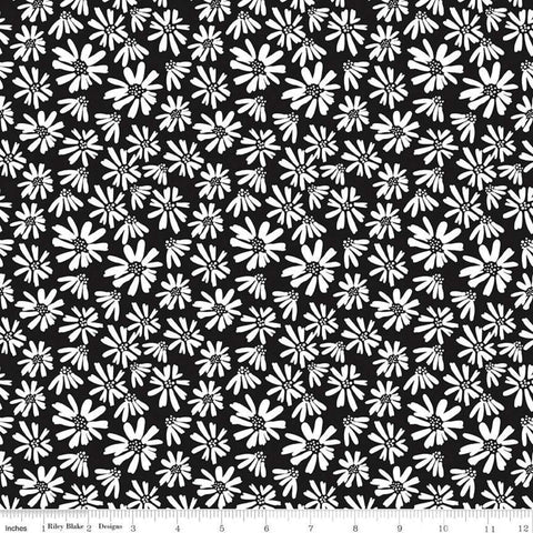 Juniper Daisy Black - Riley Blake Designs - Black and White Floral Flowers - Quilting Cotton Fabric