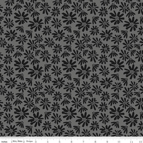 Juniper Daisy Gray - Riley Blake Designs - Black and Gray Floral Flowers - Quilting Cotton Fabric
