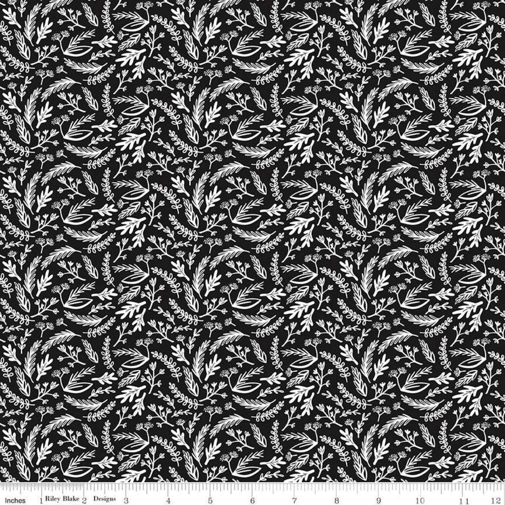 Juniper Sprigs Black - Riley Blake Designs - Black and White Floral Leaves - Quilting Cotton Fabric - 1 yard 30 inch end of bolt piece