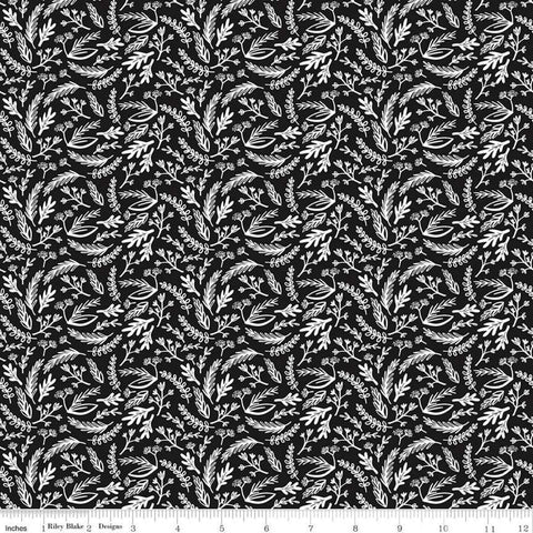 Juniper Sprigs Black - Riley Blake Designs - Black and White Floral Leaves - Quilting Cotton Fabric
