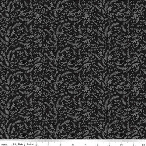 SALE Juniper Sprigs Gray SPARKLE - Riley Blake Designs - Gunmetal Metallic Floral Leaves - Quilting Cotton Fabric