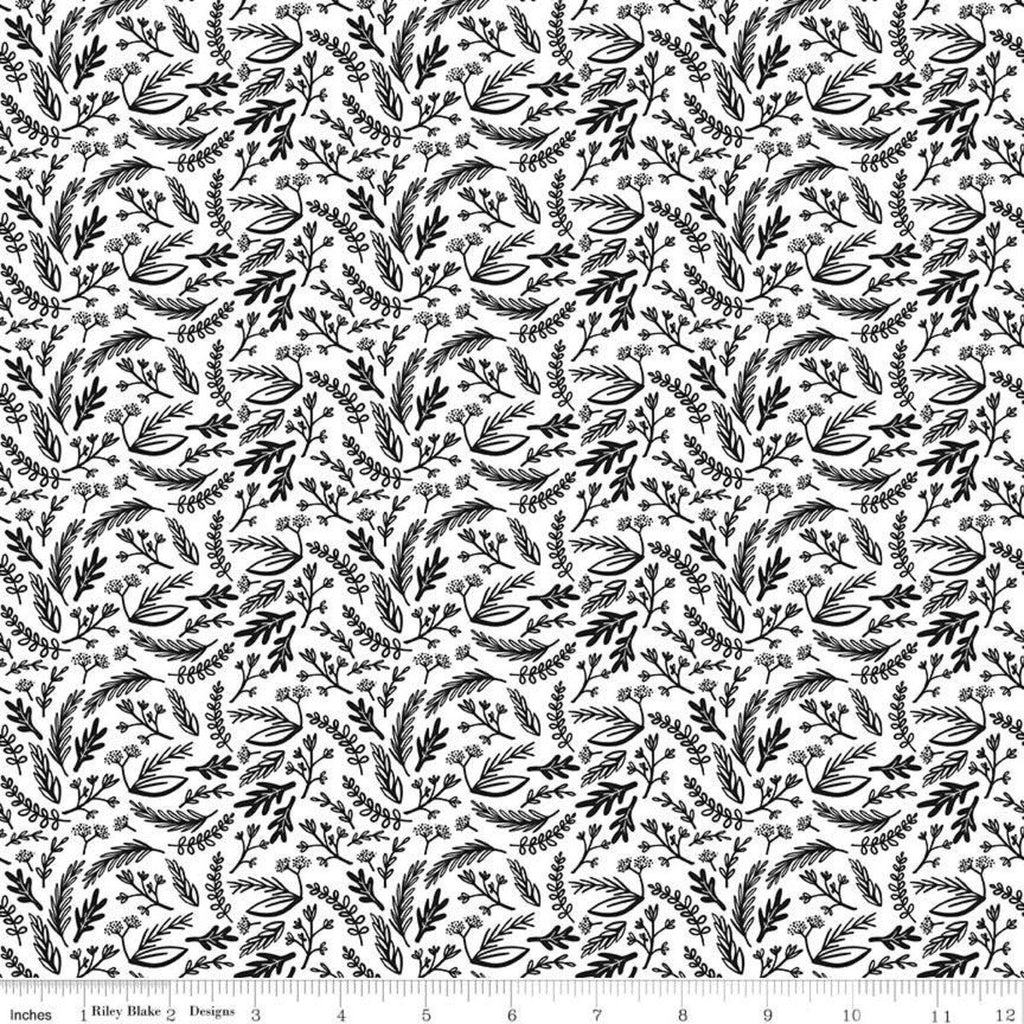 Sale Juniper Sprigs White Riley Blake Designs Black And White Floral Leaves Quilting Cotton Fabric