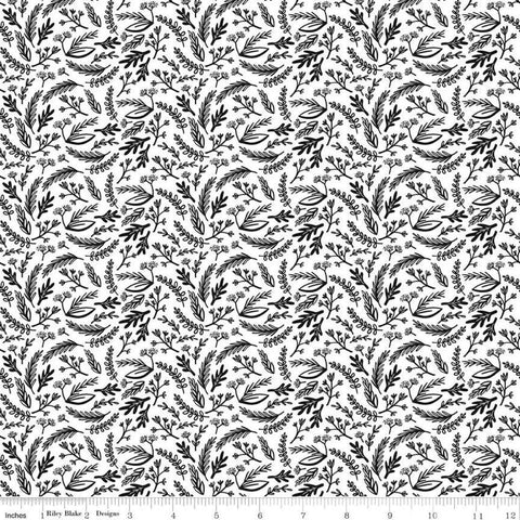 Juniper Sprigs White - Riley Blake Designs - Black and White Floral Leaves - Quilting Cotton Fabric
