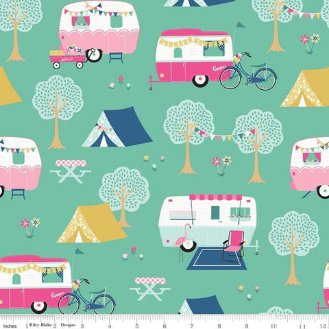 I'd Rather Be Glamping Main Mint - Riley Blake Designs - Green Camping Trailers Bicycles - Quilting Cotton Fabric