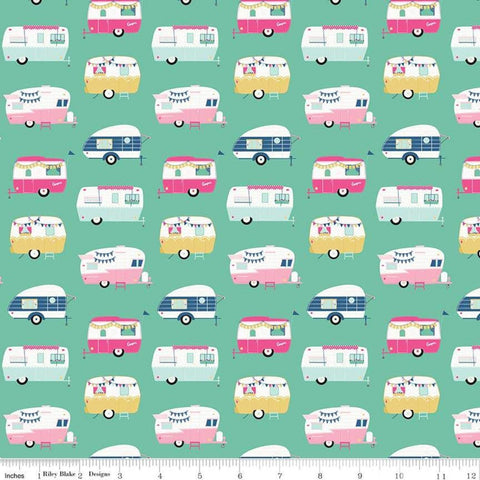 I'd Rather Be Glamping Campers Mint - Riley Blake Designs - Green Camping Trailers  - Quilting Cotton Fabric