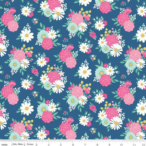 I'd Rather Be Glamping Bouquets Blue - Riley Blake Designs - Camping Floral Flowers  - Quilting Cotton Fabric