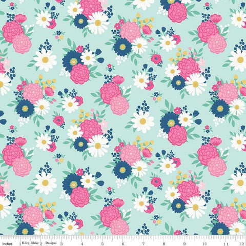 I'd Rather Be Glamping Bouquets Light Mint - Riley Blake Designs - Camping Floral Green  - Quilting Cotton Fabric